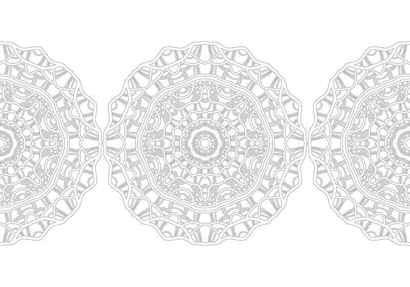 Черно-белый силуэт снежинок Шнурок, круглый орнамент и декоративная граница бесплатная иллюстрация