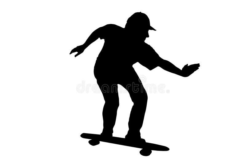 Черно-белый силуэт человека с крышкой стоя на скейтборде иллюстрация штока