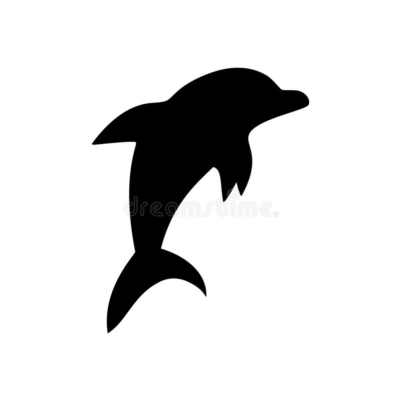 Черно-белый скача символ морского животного дельфина, иллюстрация вектора иллюстрация штока