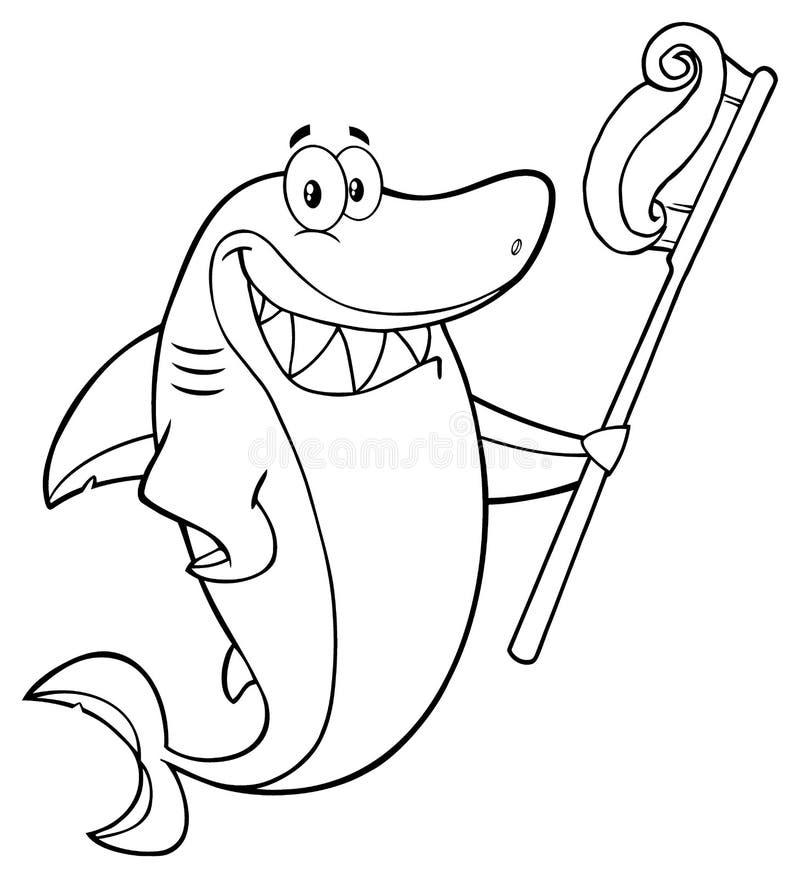 Черно-белый усмехаясь характер талисмана шаржа акулы держа зубную щетку с затиром иллюстрация вектора