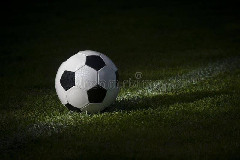 Черно-белый футбольный мяч в поле стоковое фото