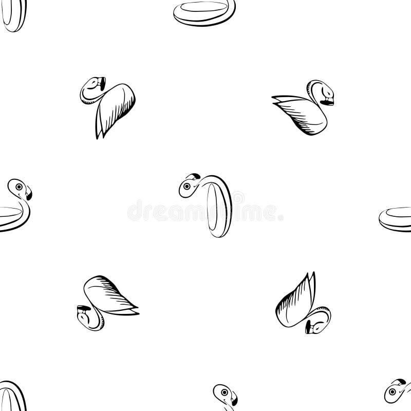 Черно-белый эскиз фламинго иллюстрация вектора