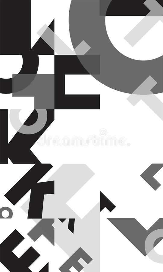 Черно-белый monotone типографский шаблон предпосылки плаката иллюстрация штока