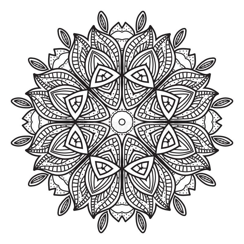 Черно-белая абстрактная круговая картина иллюстрация вектора
