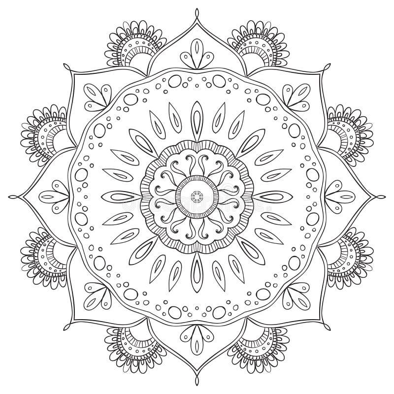 Черно-белая абстрактная круговая картина иллюстрация штока