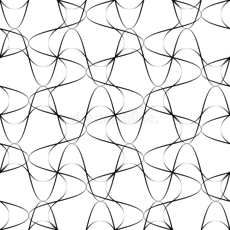 Черно-белая безшовная линия стиль волны картины, абстрактное backg бесплатная иллюстрация