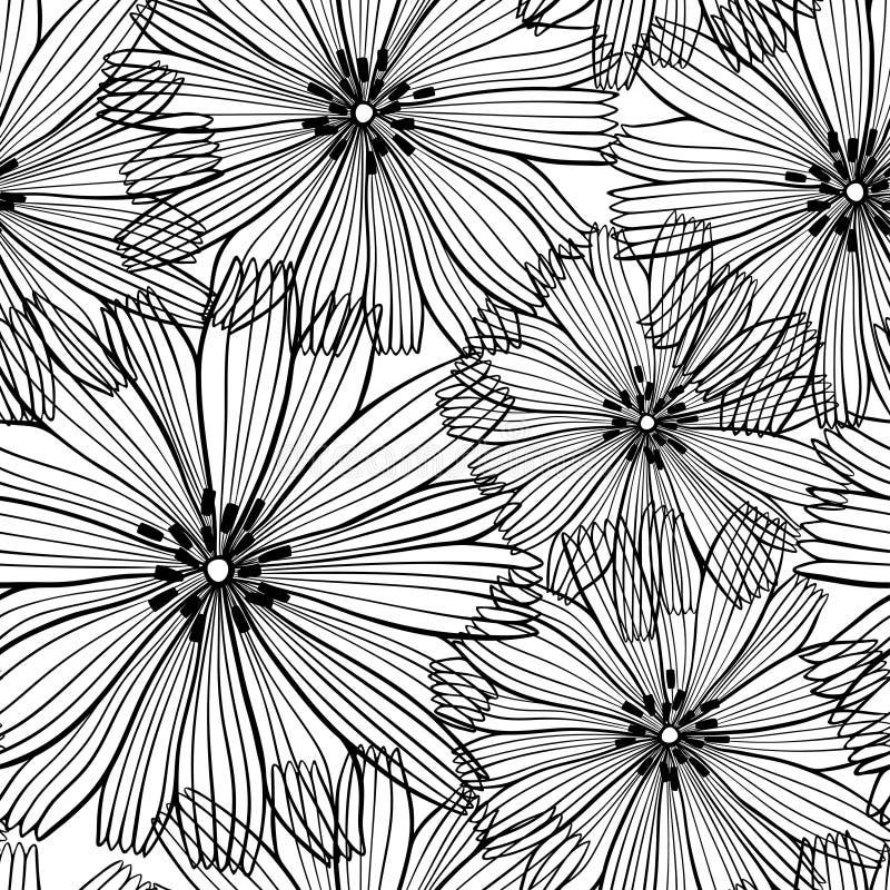 Черно-белая безшовная картина абстрактных цветков иллюстрация вектора