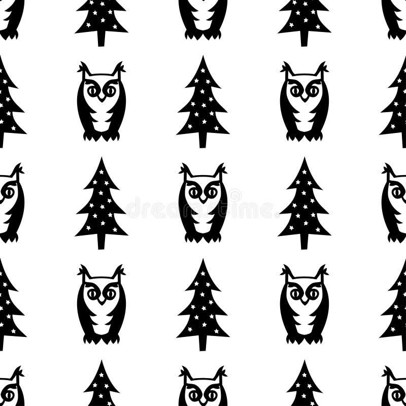Черно-белая безшовная картина зимы - деревья и сычи Xmas Иллюстрация леса зимы бесплатная иллюстрация