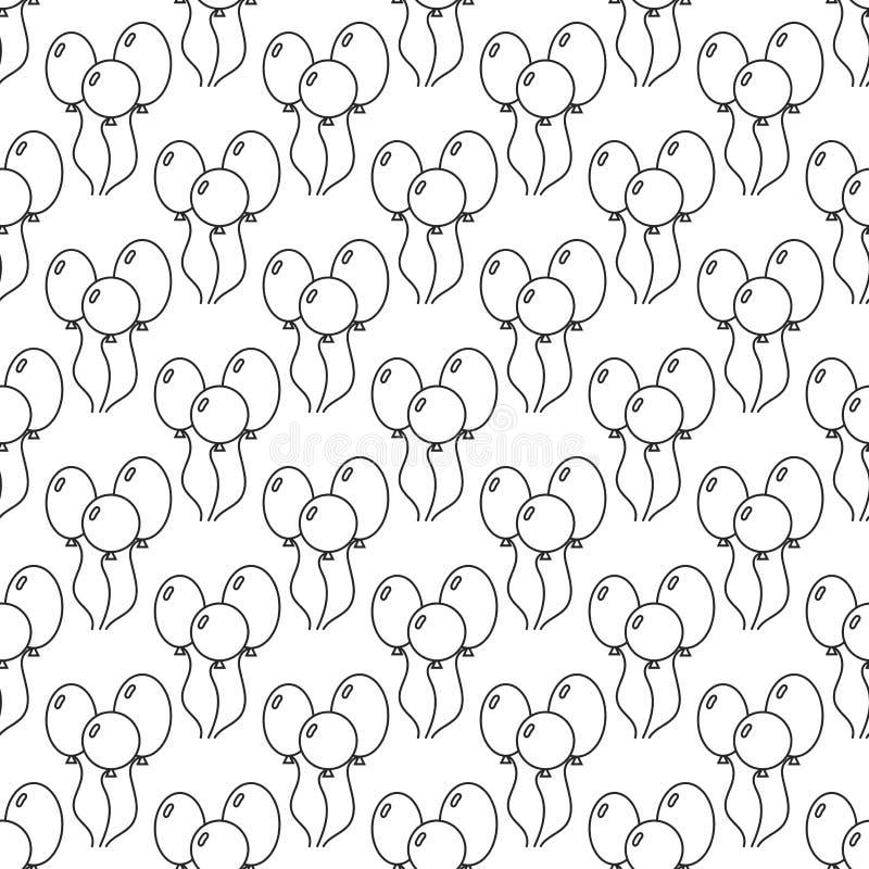 Черно-белая безшовная картина с воздушными шарами для книжка-раскраски иллюстрация штока
