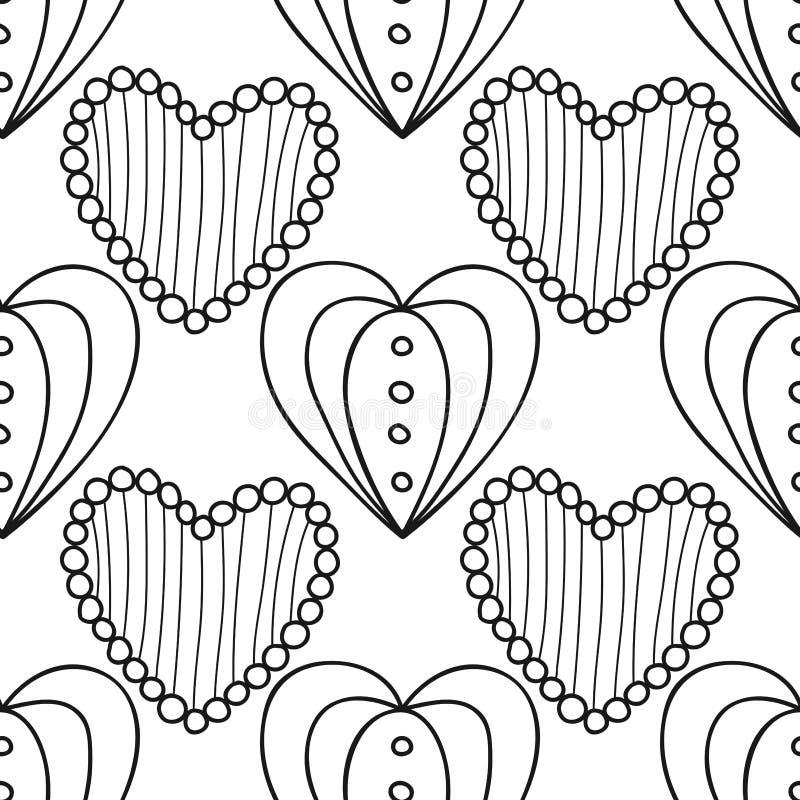 Черно-белая безшовная картина с декоративными сердцами для книжка-раскраски, страницы Романтичный орнамент иллюстрация вектора