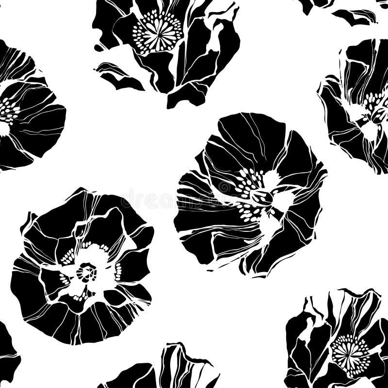 Черно-белая безшовная картина с маками рука нарисованная предпосылкой флористическая также вектор иллюстрации притяжки corel иллюстрация вектора