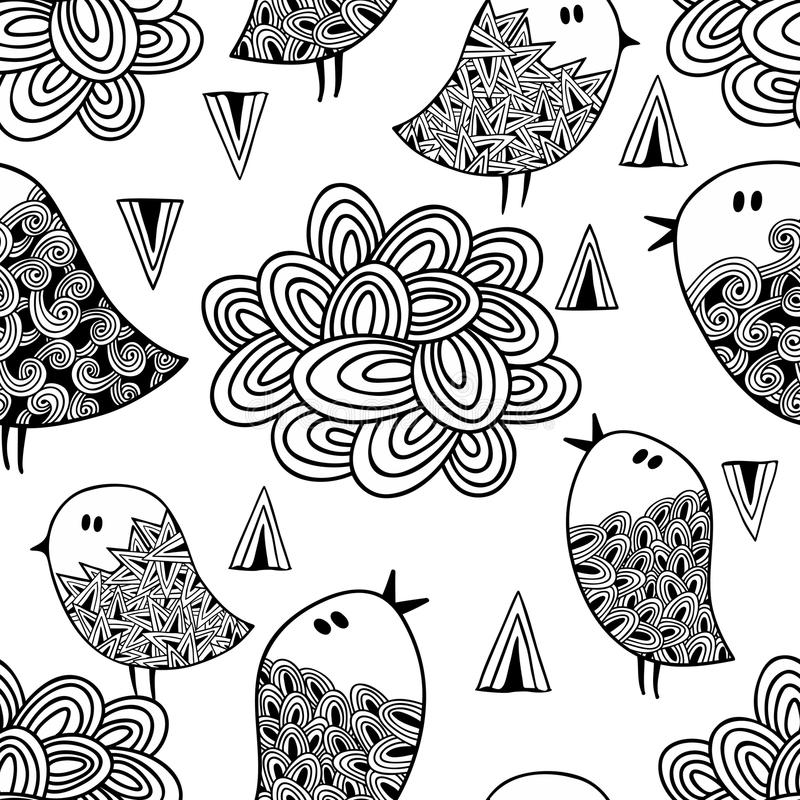 Черно-белая безшовная картина с птицами и облаками иллюстрация вектора