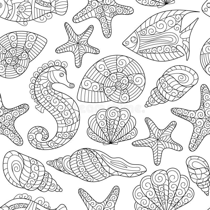 Черно-белая безшовная картина для книжка-раскраски пузыри копируют вектор текста космоса seaweeds моря жизни иллюстрации рыб иллюстрация вектора