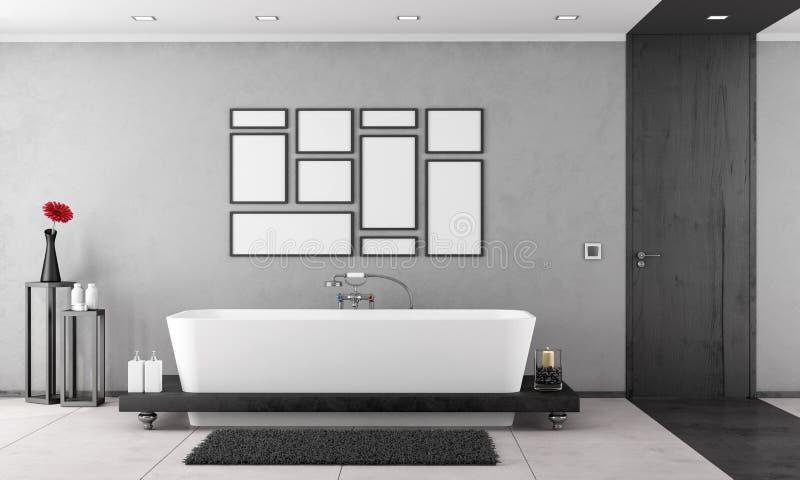 Черно-белая ванная комната бесплатная иллюстрация