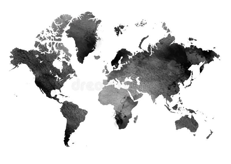 Черно-белая винтажная карта мира предпосылка всходит на борт горизонтальной текстуры узловатой сосенки Изолированный предмет иллюстрация вектора
