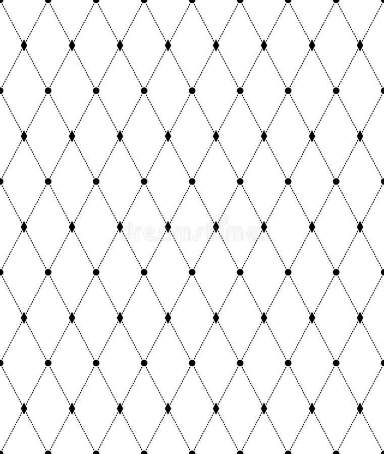 Черно-белая геометрическая безшовная картина, абстрактная предпосылка иллюстрация вектора