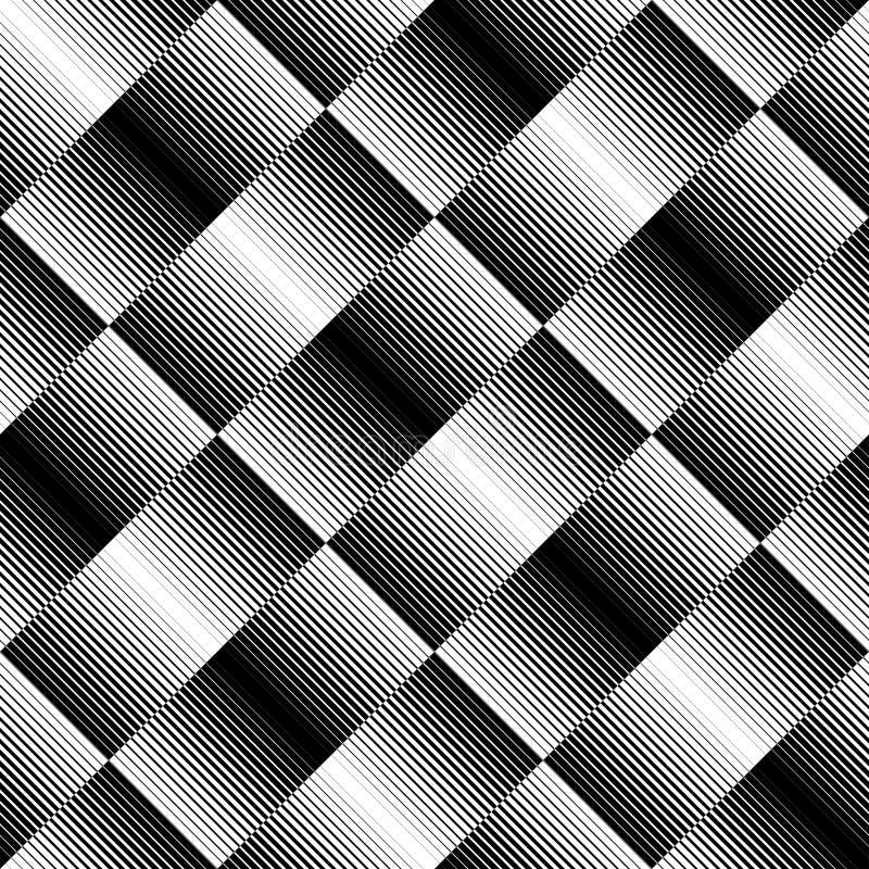 Черно-белая геометрическая безшовная картина с линией, абстрактным b иллюстрация вектора