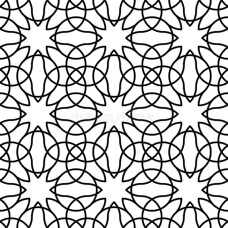 Черно-белая геометрическая безшовная картина с линией, абстрактным b бесплатная иллюстрация
