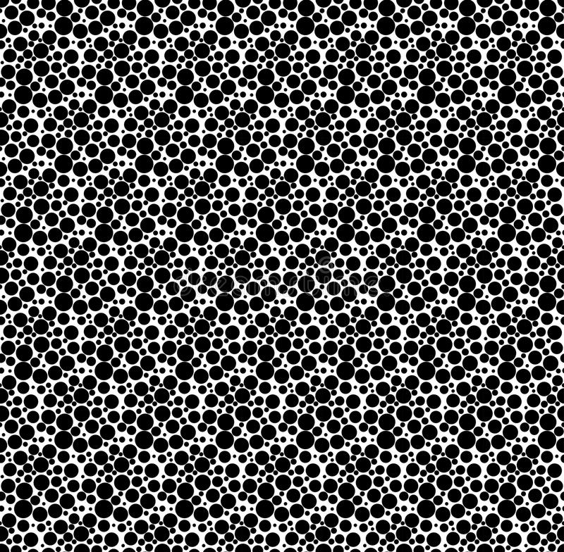 Черно-белая геометрическая безшовная картина с точкой, абстрактным ба иллюстрация штока