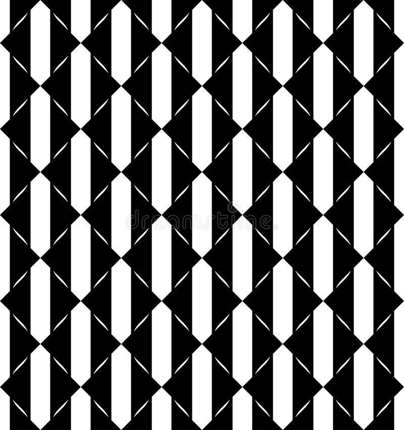 Черно-белая геометрическая безшовная картина с треугольником, abstra иллюстрация вектора