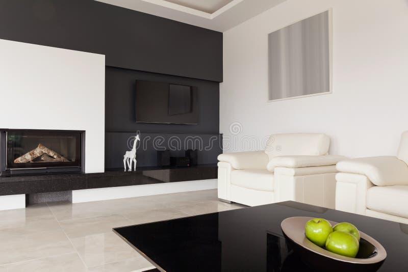 Черно-белая живущая комната стоковое изображение