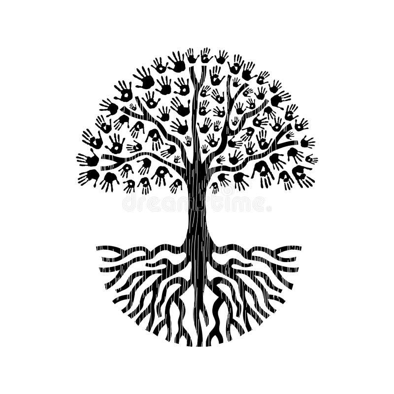 Черно-белая изолированная иллюстрация дерева руки бесплатная иллюстрация
