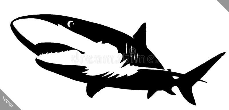 Черно-белая линейная иллюстрация акулы притяжки краски бесплатная иллюстрация