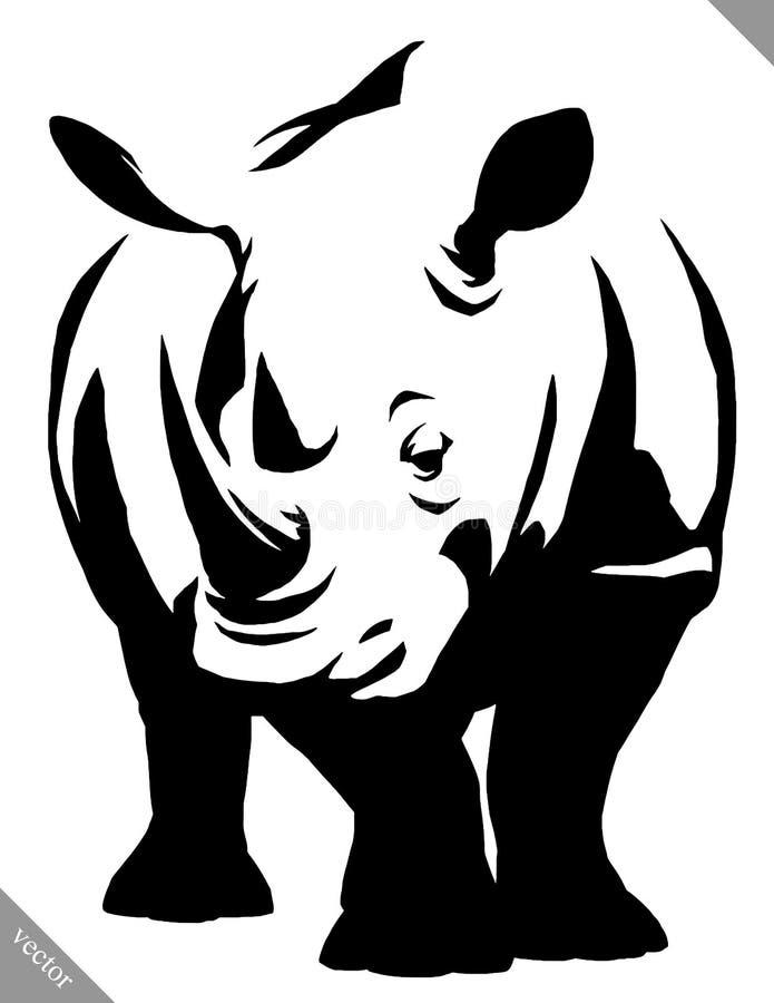 Черно-белая линейная иллюстрация вектора носорога притяжки краски иллюстрация вектора