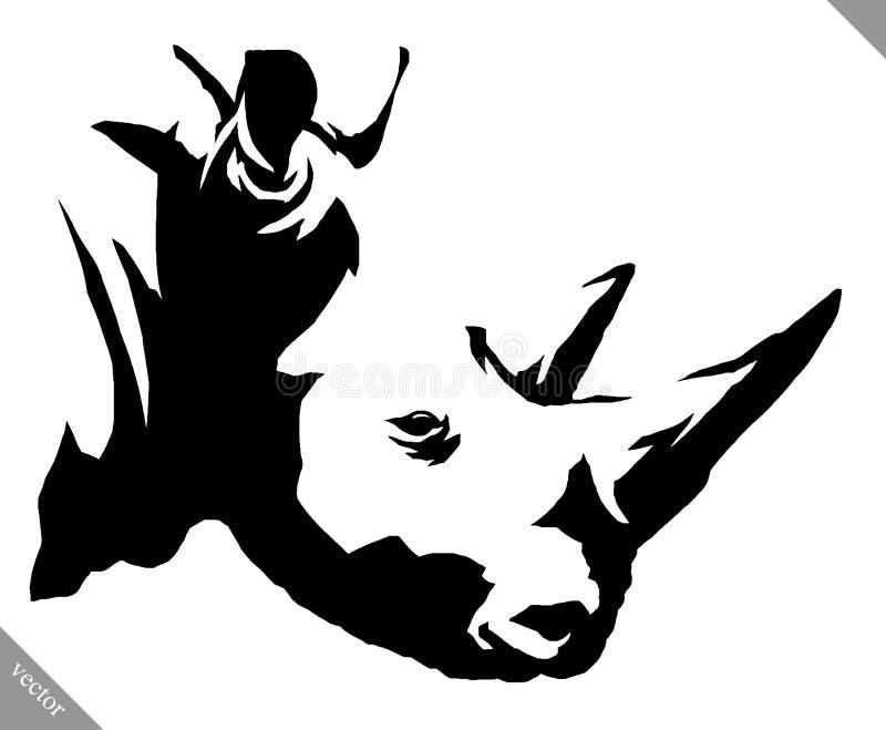 Черно-белая линейная иллюстрация вектора носорога притяжки краски иллюстрация штока