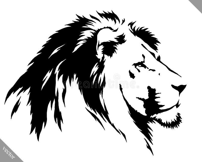 Черно-белая линейная иллюстрация вектора льва притяжки краски бесплатная иллюстрация