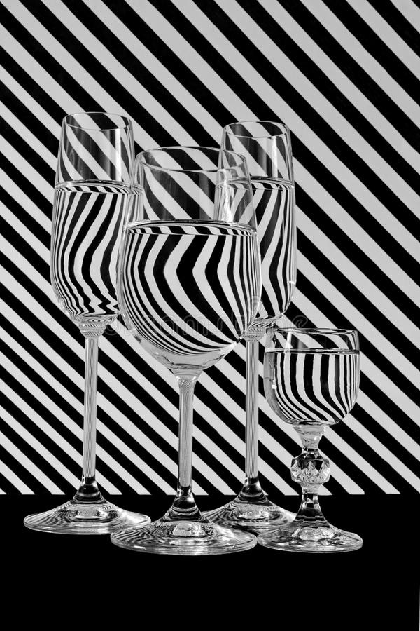 Черно-белая линия стекло нашивок стоковое фото rf