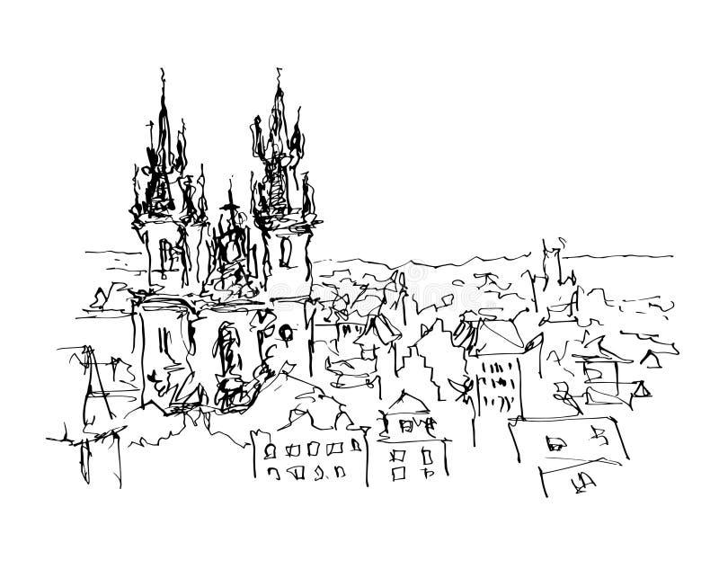 Черно-белая линия чертеж эскиза чернил верхней части c городка Праги старой иллюстрация вектора