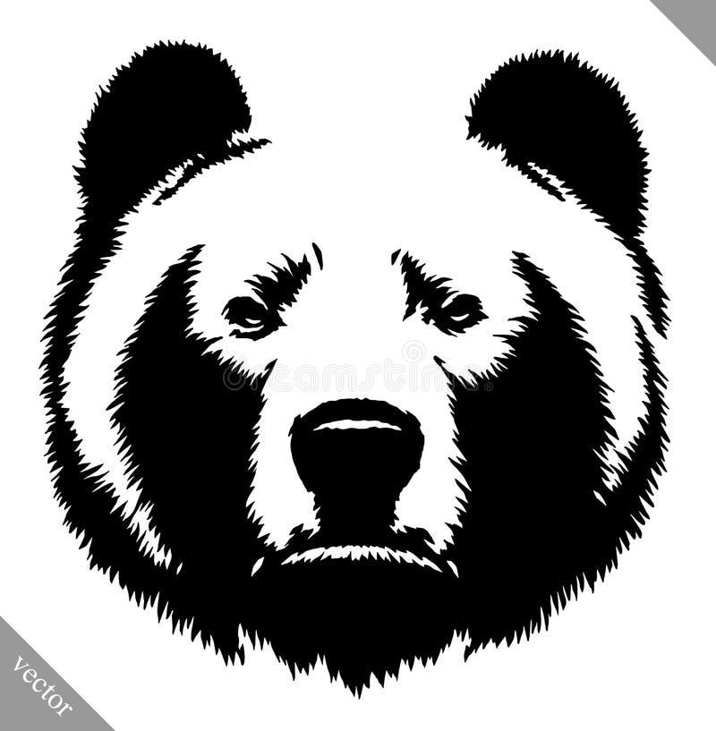 Черно-белая иллюстрация вектора медведя притяжки чернил иллюстрация вектора