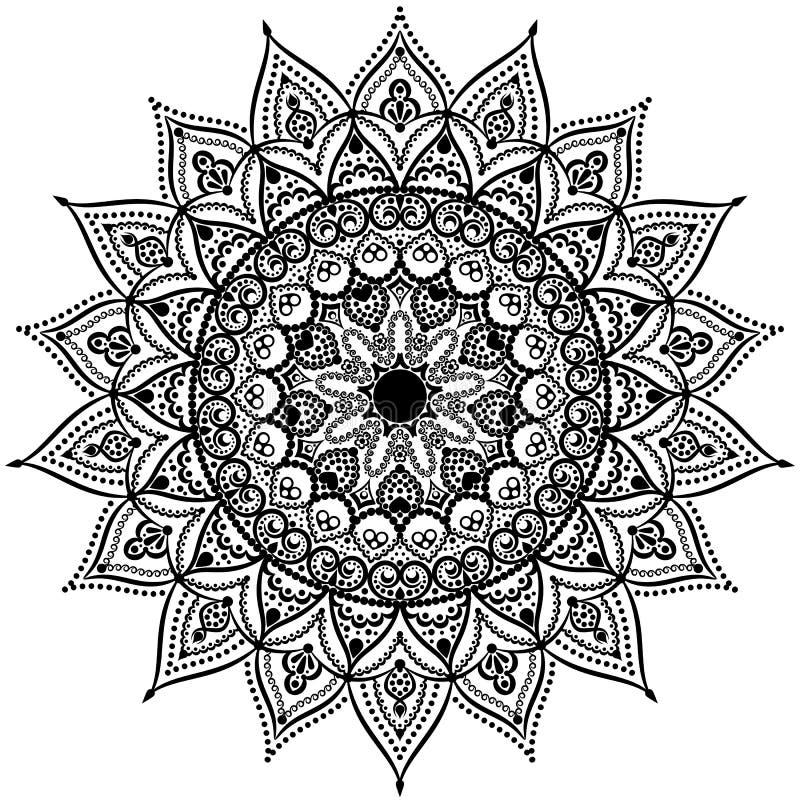 Черно-белая круглая мандала картины шнурка круга также вектор иллюстрации притяжки corel иллюстрация вектора