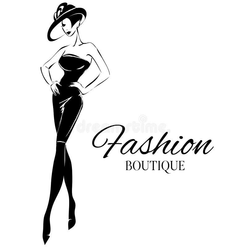 Черно-белая модель женщины моды с предпосылкой логотипа бутика вычерченная рука иллюстрация вектора
