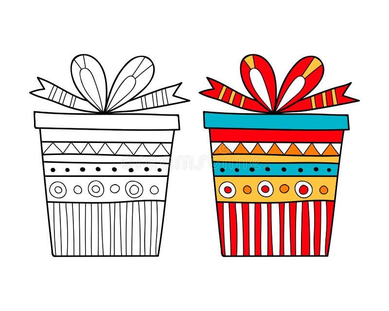 Черно-белая подарочная коробка для книжка-раскраски Упаковывающ, праздничная иллюстрация иллюстрация вектора
