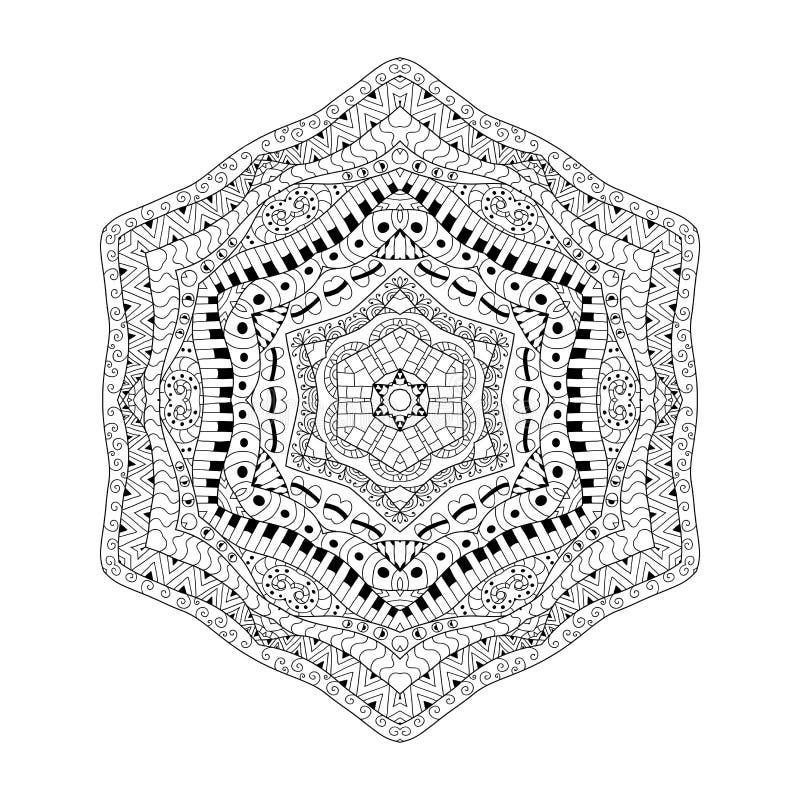 Черно-белая предпосылка контура Орнаментальная этническая картина Страница книжка-раскраски для взрослого анти- стресса иллюстрация вектора