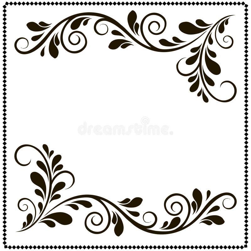 Черно-белая рамка границы с цветочными узорами иллюстрация вектора