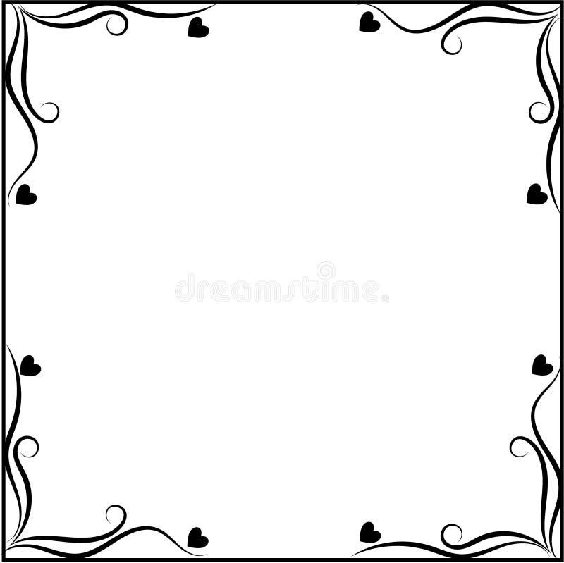 Черно-белая рамка с орнаментом сердец иллюстрация вектора