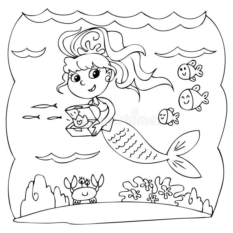 Черно-белая русалка под водой иллюстрация штока