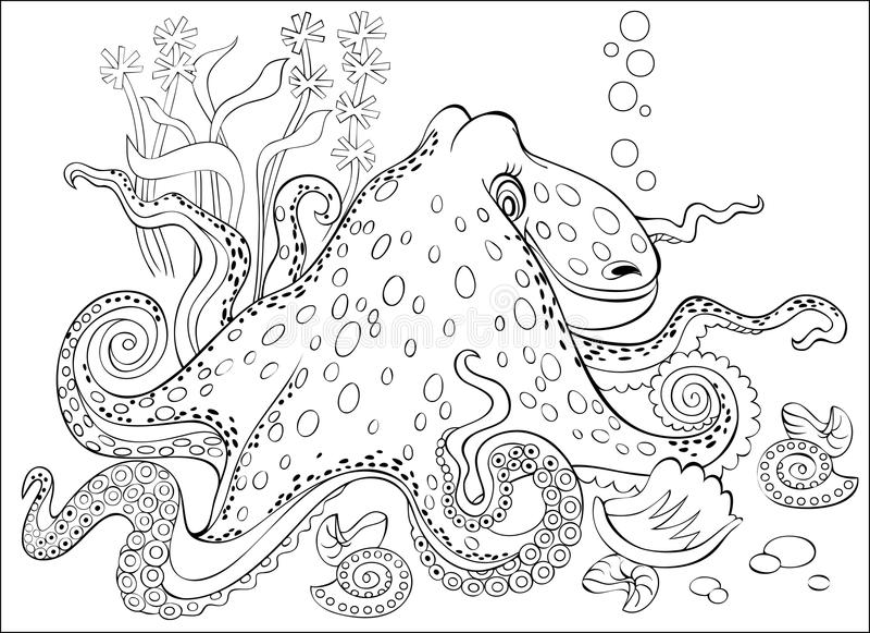 Черно-белая страница для красить Чертеж фантазии осьминога Рабочее лист для детей и взрослых иллюстрация штока
