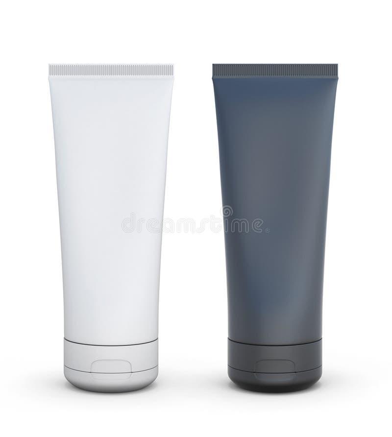 Черно-белая трубка для сливк или другого косметического выхода иллюстрация штока