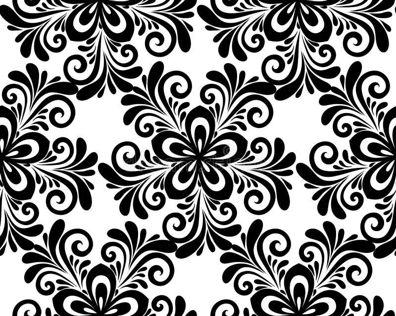 Черно-белая флористическая безшовная картина. бесплатная иллюстрация