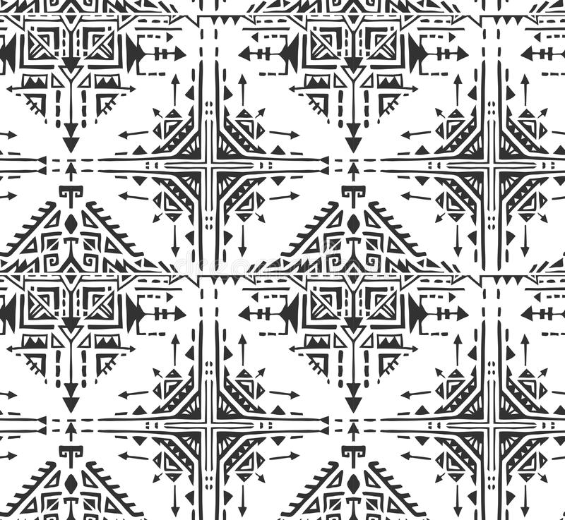 Черно-белая этническая безшовная картина с элементами нарисованными рукой иллюстрация вектора