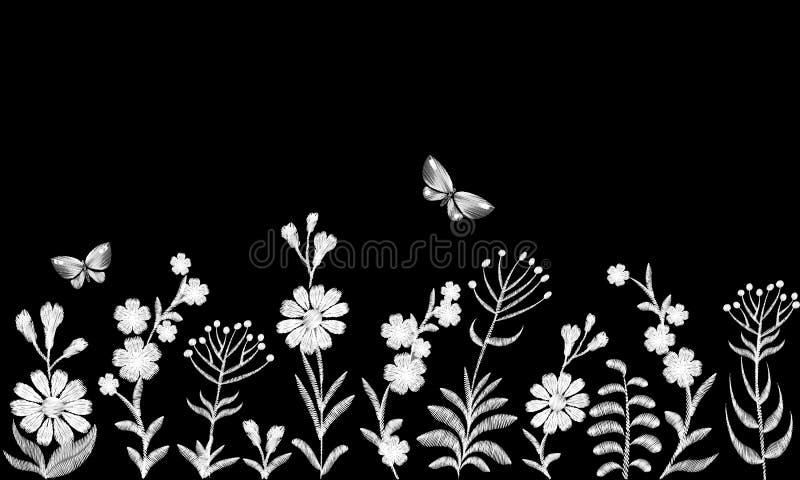 Черно-белая monochrome вышивка цветка поля Граница традиционного винтажного украшения безшовная Маргаритка поля деревенская иллюстрация штока