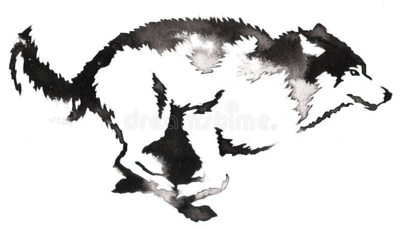 Черно-белая monochrome картина с водой и чернила рисуют иллюстрацию волка иллюстрация вектора
