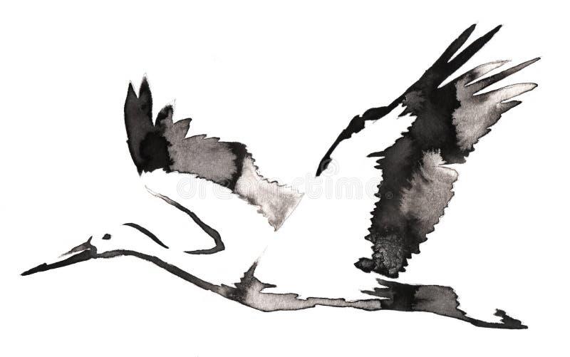 Черно-белая monochrome картина с водой и чернила рисуют иллюстрацию птицы крана иллюстрация вектора