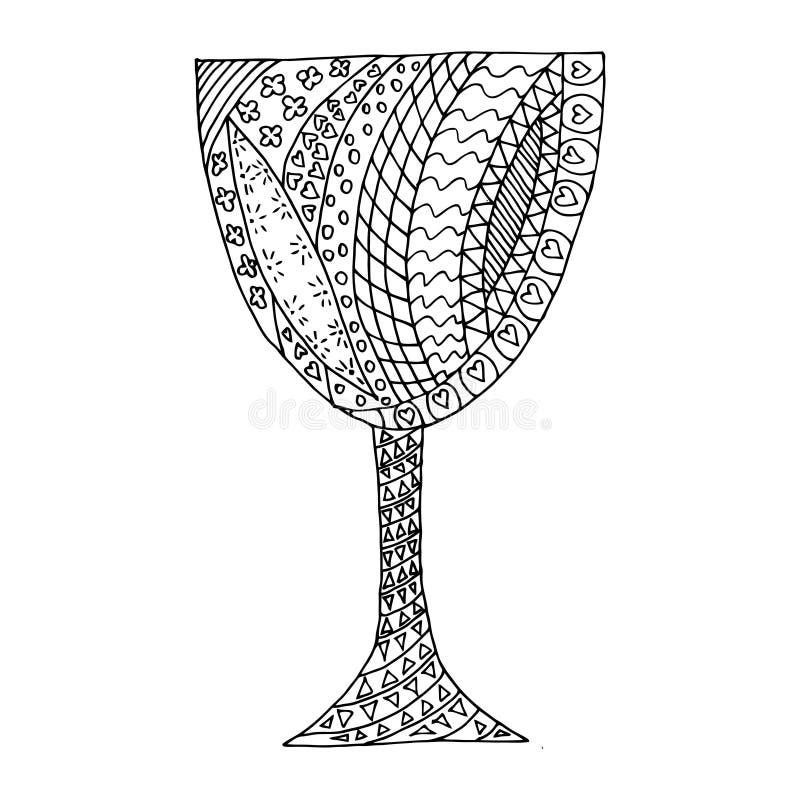 Черно-белое стеклянное tangl Дзэн, dudl Дзэн Стеклянная татуировка, стеклянный вектор иллюстрация штока