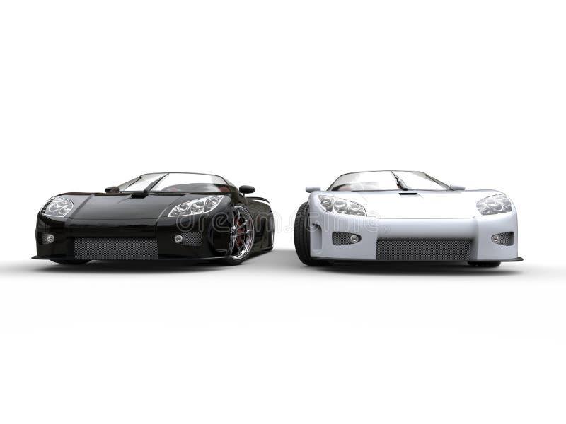 Черно-белые автомобили спорт - вид спереди стоковое фото