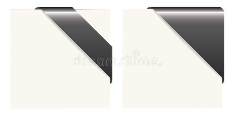 Черно-белые бумажные углы бесплатная иллюстрация